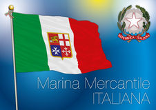 Commercial navy flag, italy. Original  file marina mercantile, commercial navy, italy Royalty Free Stock Photography