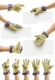 Commercial offer marks. Hands with gauntlet for customizable commercials offers Royalty Free Stock Image