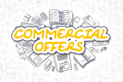 Commercial Offers - Doodle Yellow Text. Business Concept. Royalty Free Stock Photography