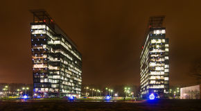Commercial office buildings exterior  Night view Royalty Free Stock Photo