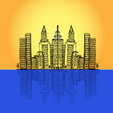 Commercial, office, high-rise, building, city, skyline,vector illustration in flat design for web sites, Infographic design Royalty Free Stock Photos