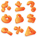 Commercial orange acrylic icons Stock Photography