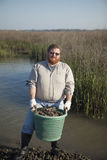 Commercial oyster fisherman Royalty Free Stock Images