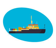 Commercial and passenger cargo ship, with cargo on board. Modern vector illustration isolated on white background Royalty Free Stock Image