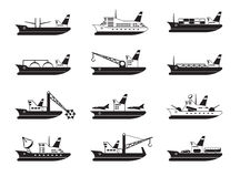 Commercial and passenger ships. Diverse commercial and passenger ships - vector illustration Stock Image