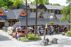 Commercial pavilions in Zakopane Royalty Free Stock Photo