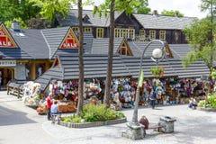 Commercial pavilions in Zakopane Royalty Free Stock Photo
