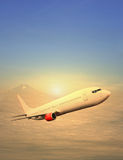 Commercial plane. Flies with sunset background Stock Images