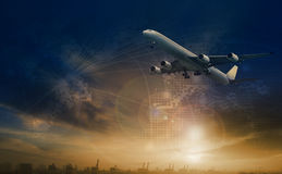 Commercial plane flying over transport scene and freight logistic business network background royalty free stock photo
