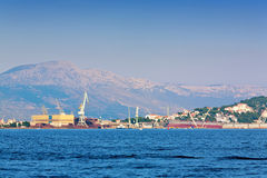 Commercial port. Industrial center in the city of Trogir, Croatia Royalty Free Stock Image