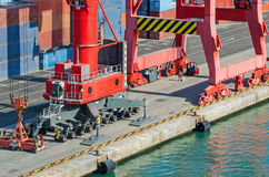 Commercial port of Barcelona with rail crane Royalty Free Stock Photography