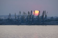 Commercial port in Kerch Royalty Free Stock Photo