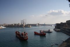 Commercial port of la Valleta, Malta. Commercial port of la valleta, overlooking sliema tourist center of malta Stock Images
