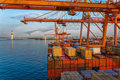Commercial port at late evening Royalty Free Stock Image