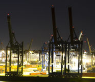 Commercial port at night. Busy commercial port at night Royalty Free Stock Photo