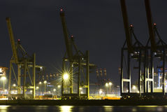 Commercial port at night Stock Photo