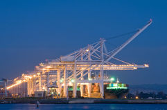 Commercial port at night Stock Image