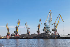 Commercial port. Russia, Kaliningrad, hoisting cranes in the commercial port Royalty Free Stock Photography