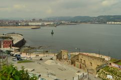 Commercial Port Seen From The Cimadevilla Park In Gijon. Nature, Travel, Holidays, Cities. stock images