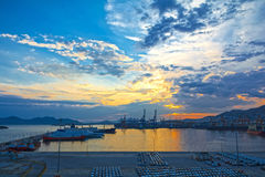 Commercial port. View of the commercial port of Keratsini at sunset, Piraeus - Greece Royalty Free Stock Photo