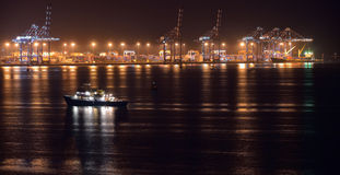 Commercial port view at night Stock Image