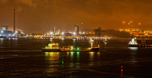 Commercial port view at night Royalty Free Stock Images
