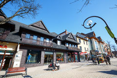 Commercial premises in downtown of Zakopane Royalty Free Stock Photos