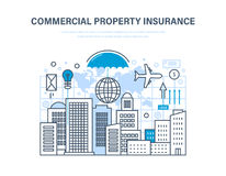 Commercial property insurance. Crediting, financial security, investment and property. Commercial property insurance. Crediting and property insurance Stock Images