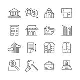 Commercial real estate linear icons. Property for sale line signs Royalty Free Stock Photo