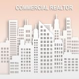 Commercial Realtor Represents Office Property Buildings 3d Illus. Commercial Realtor Skyscrapers Represents Office Property Buildings 3d Illustration Stock Photos