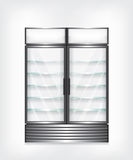 Commercial refrigerator with two door and glass shelves Royalty Free Stock Photography