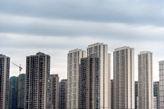 Commercial residential buildings under cloudy sky. Wuhan city, china royalty free stock images