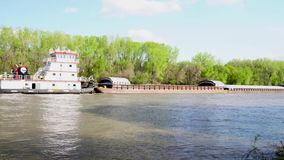 Commercial River Barge on the Minnesota River stock video footage