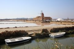 Commercial Salt Experience in Marsala on Sicily Royalty Free Stock Image