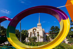 Commercial Sea Port of Sochi and beautiful tropical garden with Royalty Free Stock Photos