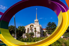 Commercial Sea Port of Sochi and beautiful tropical garden with Stock Image