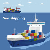 Commercial sea shipping banner template. Sea shipping banner template. Maritime container transportation, commercial transportation logistics. Worldwide freight stock illustration