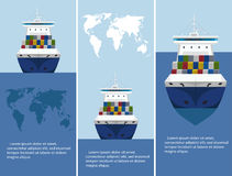 Commercial sea shipping flyer template set. Sea shipping flyer template set. Maritime container transportation, commercial transportation logistics. Worldwide royalty free illustration