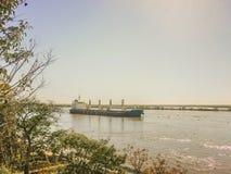 Commercial Ship Crossing the Parana River Royalty Free Stock Photo