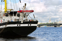 Commercial ship in St.-Petersburg Royalty Free Stock Photography