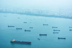 Commercial Shipping off the Coast of Singapore Stock Photo