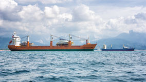 Commercial ships stock image
