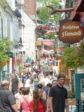 A commercial shopping district in Old Quebec City royalty free stock images