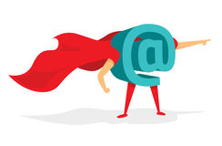 Commercial At sign or technology super hero with cape Royalty Free Stock Photography