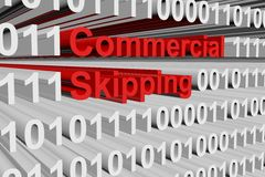 Commercial skipping. In the form of binary code, 3D illustration Royalty Free Stock Photo