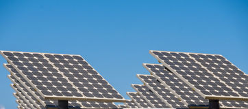 Commercial Solar plant. Solar Panels over a parking lot Royalty Free Stock Photo