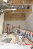 Commercial Space Construction Renovation. With Heating Cooling Duct Work Drywall and Ceiling royalty free stock images
