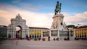 Commercial Square in Lisbon, Portugal stock video footage