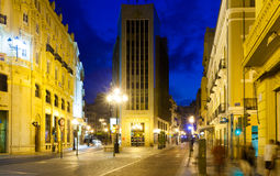 Commercial street in evening. Castellon de la Plan Royalty Free Stock Photo