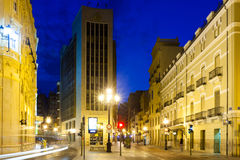 Commercial street in evening. Castellon de la Plana Royalty Free Stock Images
